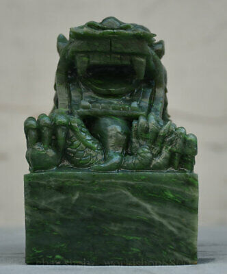 6 inch Chinese Natural Dushan Stone Jade Carved Zodiac Year dragon Seal Statue