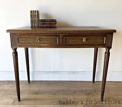 Vintage French Parisian Writing Desk Double Sided Mahogany Brass Trim TM138