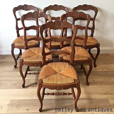 French Vintage Ladder Back Ladderback Chairs Provincial Louis Style Six- OF020b