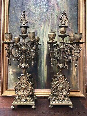 Pair of Antique French Bronze Candelabra Louis Style Rare - PQ534
