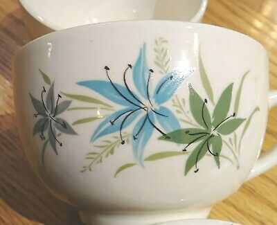 USA Mount clemens pottery SYLVANIA. turquoise grey green lily