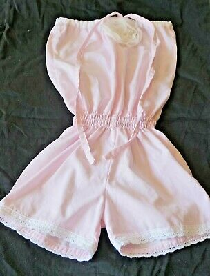 Jumpsuit girls Size 3 short suit cotton pink with straps Cheeky Chaz Toddlers