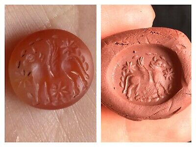 Excellent Carnelian Agte Cow Worshiping Intaglio Stamp Bead
