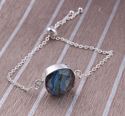 Natural Rainbow Calsilica Silver Plated Full Adjustable Chain Bangle Bracelet