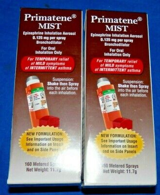 LOT OF 2 PRIMATENE 1 MIST ASTHMA RELIEF INHALER 160 METERED Exp 04/2020+ NEW