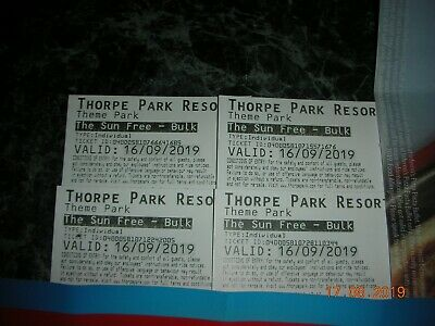 4 Tickets for Thorpe Park Valid Monday 16/9/19 only