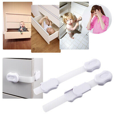 10PCS Baby Child Proof Safety Cupboard Cabinet Locks /Latch Adjustable Strap