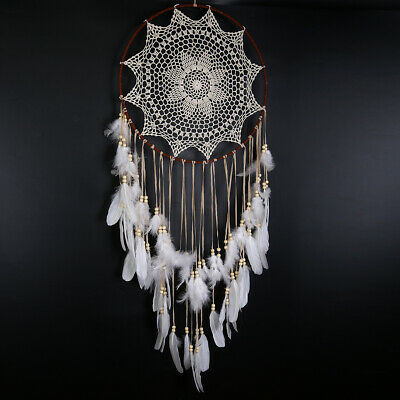 Large Handmade Feather Dream Catcher Net Wall Home Hanging Ornament Gift White