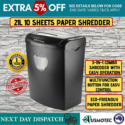 21L Electric Home Office 10 A4 Sheets Credit Cards CD Paper Cross Cut Shredder
