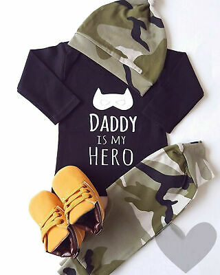 Infant Newborn Baby Boys Batman Long Sleeve Bodysuit Camo Pants Hat Outfits Set