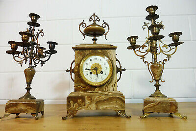 Antique French Clock Set Marble Clock Mantel Clock Table Clock