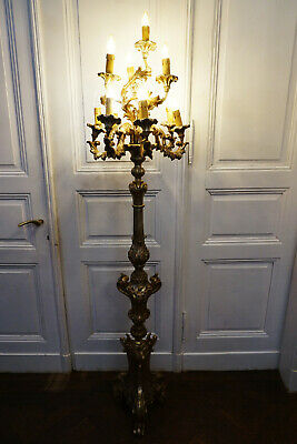 Antike Stehlampe Barock Stehlampen Lampe massiv Holz 18 JHD old lamp lampadaire