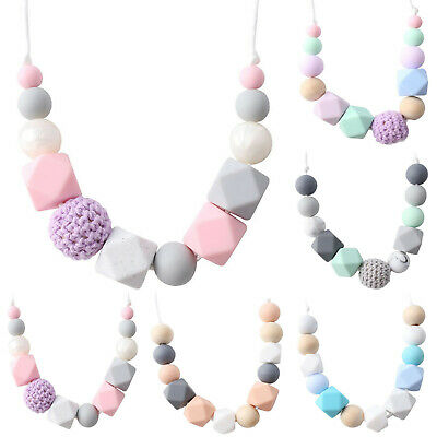 Wood Crochet Geometric Silicone Bead Baby Teething Chew Mom Necklace Teether Toy