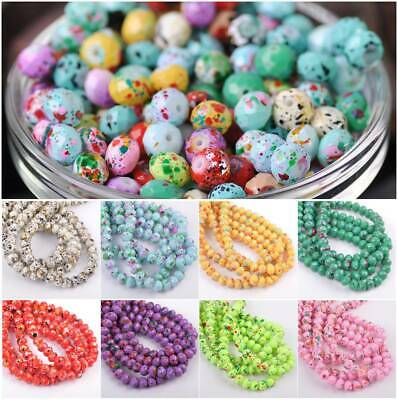 6mm 8mm Rondelle Faceted Spots Coated Glass Loose Spacer Beads Jewelry Making