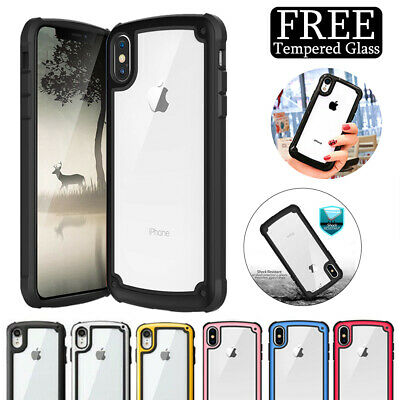 For iPhone XR XS Max X 8 7 6 Plus Clear Shockproof Bumper Case Heavy Duty +Glass