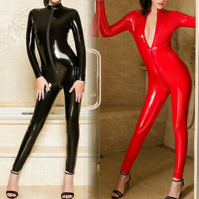 Sexy Damen Overall Jumpsuit Wetlook Zipper Glanz Body Anzug Bodysuit Reizwäsche