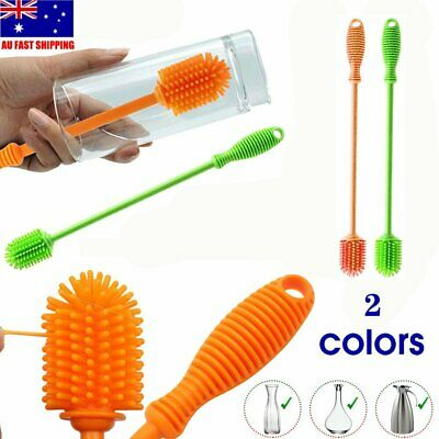 Silicone Water Bottle  Brush Feeder Washing Cleaner w/ Long Handle BO