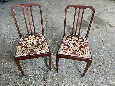 Pair Of Gorgeous Mahogany Victorian Decorative Dining Chairs