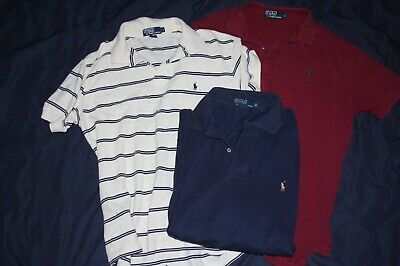 Lot of 3 Polo by Ralph Lauren Mens Large Polo Shirts Button Up POny Logo 1 Tall