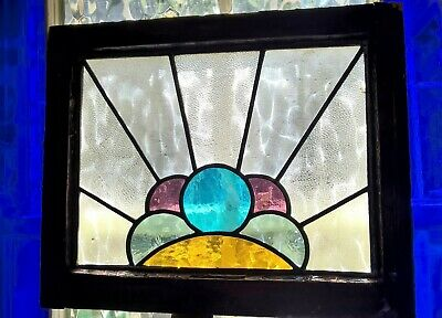 Stained Leaded Glass Window Panels Architectural Antique Art Deco Wooden frames