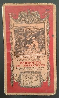 Vintage Ordnance Survey Road Map of Barmouth and Aberystwyth, Sheet 68 (1931).