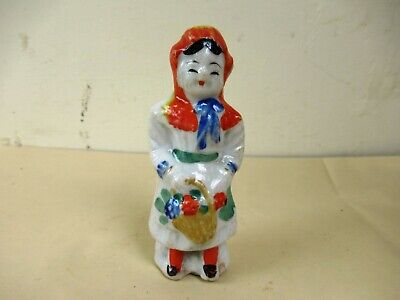 Antique Porcelain Figurine Lady With Flower Basket Made In Japan Collectibles *F