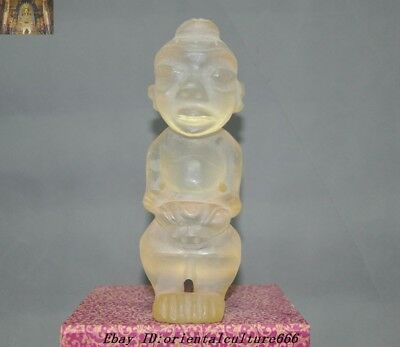 Antiques Rare old chinese Hongshan culture Crystal carving man god people statue