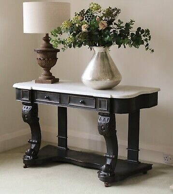 Antique Black Painted Marble Top Wash Stand/Sink Base/Desk/Console/Hall Table