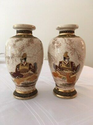 Antique Japanese Satsuma vases pair Beautiful Rare Design – Excellent quality