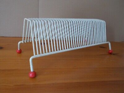 """Small Plastic Coated Metal Vinyl Record Storage Rack. Will hold 35, 7"""" Singles."""