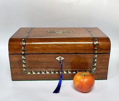 Antique Rosewood Sewing Box With Inlaid Abalone Original Interior Lock And Key