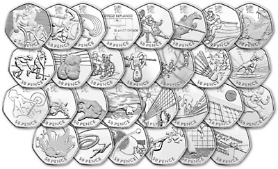 London 2012 Olympic 50p Fifty Pence Coins.