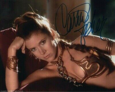 Carrie Fisher - Princess Leia - Star Wars - Colour Slave Girl Signed Photo