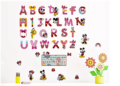 Stickers Autocollant Mural Alphabet Rose - Mickey Minnie Donald Pluto…