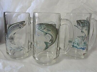 Set/3 Beer Mugs Big Mouth Bass Rainbow Trout Striped Bass Fish Fishing Wildlife
