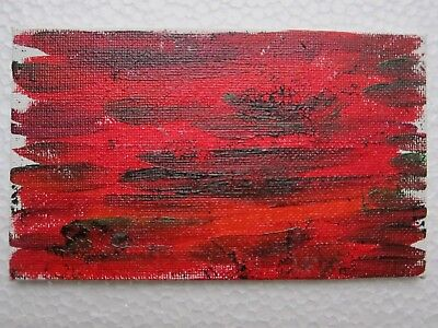 "Autumn Abstract Original Oil Painting Forest Trees Leaves Oxana Diaz 3"" x 5"""