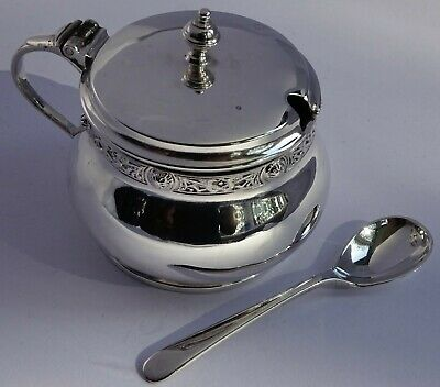 Celtic solid sterling silver mustard pot,glass liner & spoon,Adie Brothers 1950