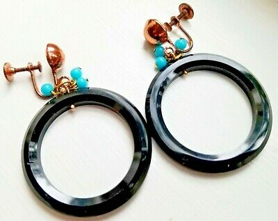 Retro 1960's Large Hoop Earrings: Celluloid, Copper & Turquoise Glass