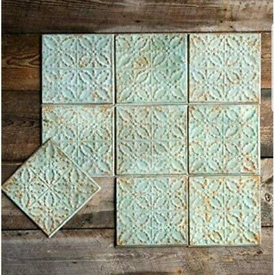 Pressed Tin Ceiling Tiles~ Antique Green Color~ SET OF FOUR