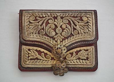 Antique 18 Century Islamic Turkish Ottoman Wallet Embroidered In Gold Gilt Metal