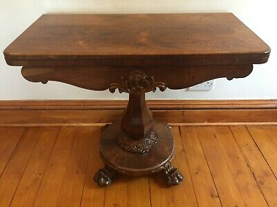 Victorian Burr Walnut Fold Over Card Table
