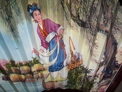 Vintage Wood & Paper Hand Painted Chinese Lady by Water Folding Hand Held Fan