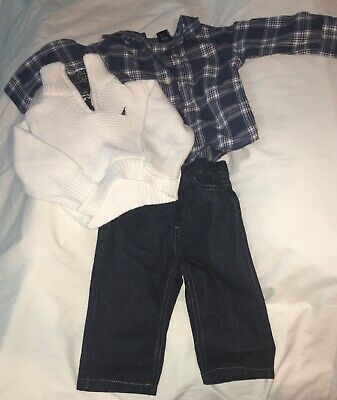 WOW! 0-3 Months Nautica baby boy clothes 3 Piece Sweater, Pants And Shirt