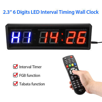 """2.3"""" LED Programmable Interval Timer Big Stopwatch FGB Tabata function Fitness"""