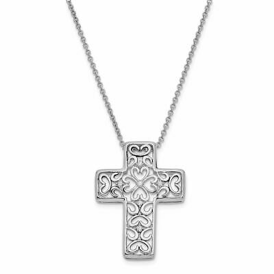 925 Sterling Silver CZ Unwavering Love Filigree Cross Pendant Necklace 18 by Sentimental Expressions