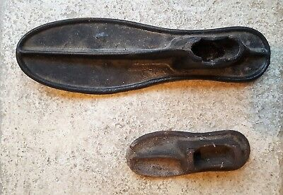 2 Antique/Vintage Heavy Cast Iron Cobbler Shoe Lasts (Forms): Sizes 1 & 4