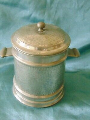 Antique Arts & Crafts Hand Plemished Pewter Lugged Tea Caddy / Biscuit Barrel