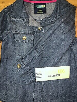 *VeRy CuTe* Oshkosh NEW baby girl Denim Shirt size 12 months NWT