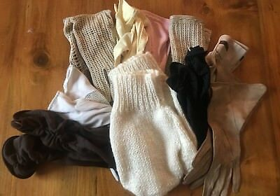 Ten pairs of vintage gloves, mix of sizes, styles, colours & material