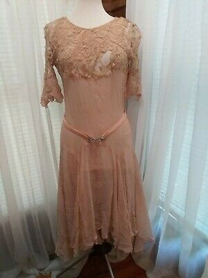 Antique Vintage 1920 Flapper Dress With Accent Lace Great For Pattern